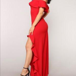 5e351ead7b9 Fashion Nova Dresses - Red Holiday Chasing  Love Ruffle Dress